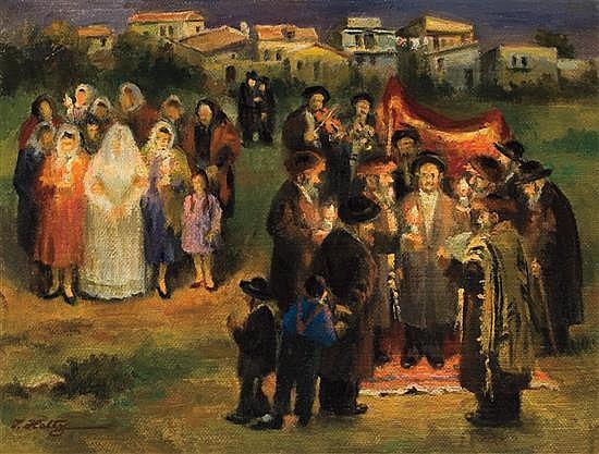 **Isaac Holtz b.1927 (Polish/American) Under the Huppa, 1968 oil on canvas