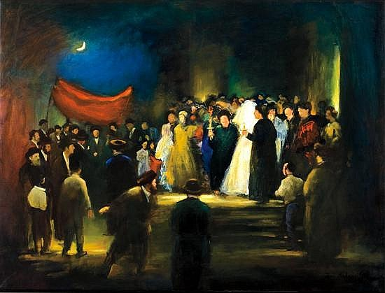 **Zvi Malnovitzer b.1945 (Israeli) Jewish wedding oil on canvas