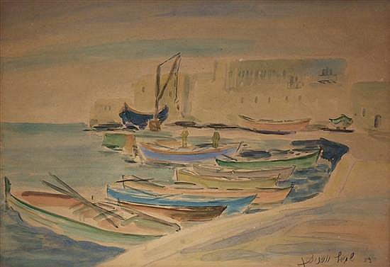 Shmuel Wodnicki 1895-1980 (Israeli) Boats, 1953 watercolor on paper