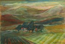 Esther Peretz Arad 1921-2005 (Israeli) Landscape mixed media on cardboard