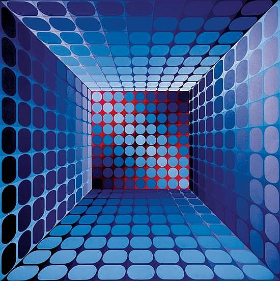**Victor Vasarely 1906-1997 (Hungarian, French) Caldor, 1976 acrylic on canvas