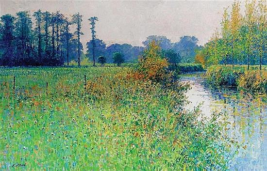**Charles Neal b.1951 (British) Meadows by the river Rouvre, Cramenil, Normandie, France, October morning oil on canvas
