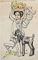 Meir Gur-Aryeh 1891-1951 (Israeli) Young girl with goat pencil on paper, Meir Gur-Aryeh, Click for value