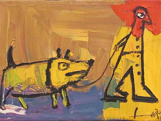 Leo Ray b.1950 (Israeli) Figure and dog oil on canvas