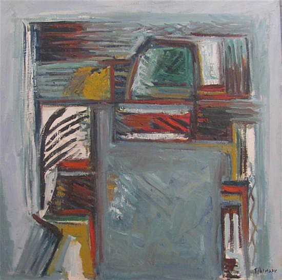 Pinchas Abramovich 1909-1986 (Israeli) Abstract oil on canvas