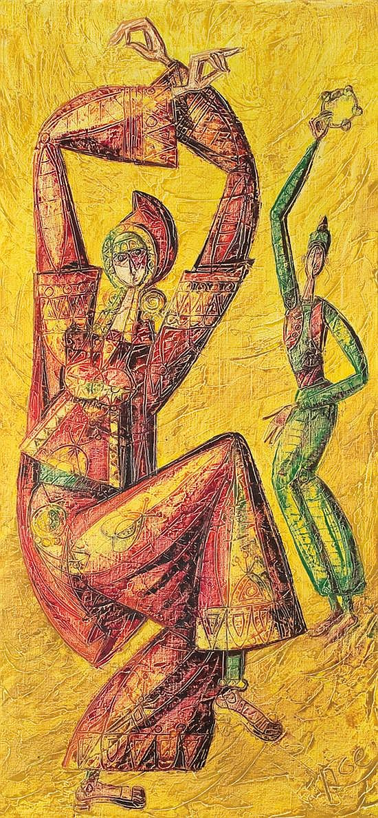 Yossi Stern 1923-1992 (Israeli) Two figures, 1976 oil on canvas