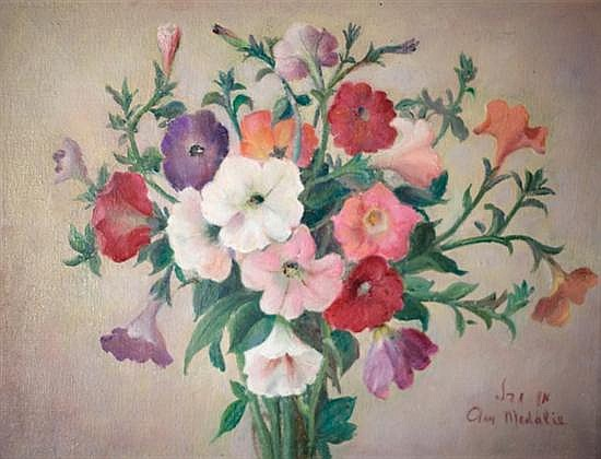 Ann Medalie 1896-1991 (Israeli) Flowers oil on canvas