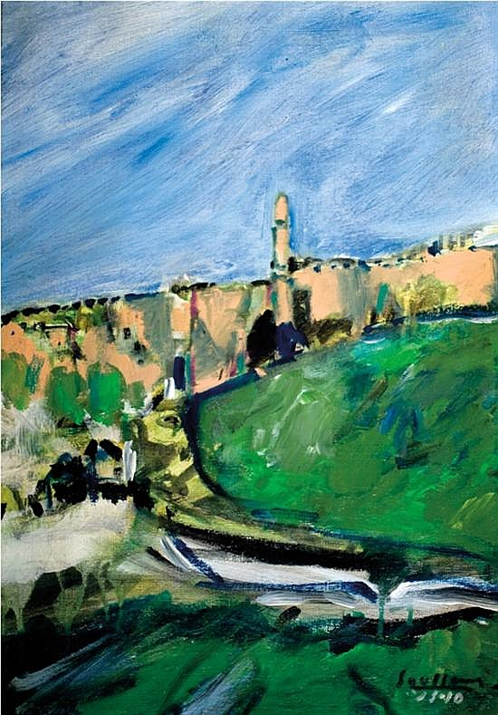 David Soussana b. 1944 (Israeli) View of the old city, Jerusalem acrylic on canvas