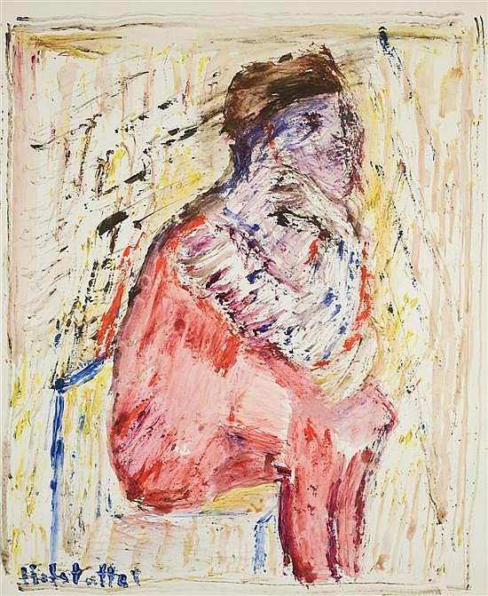 Osias Hofstatter 1905-1994 (Israeli) Seated figure watercolor and gouache on paper