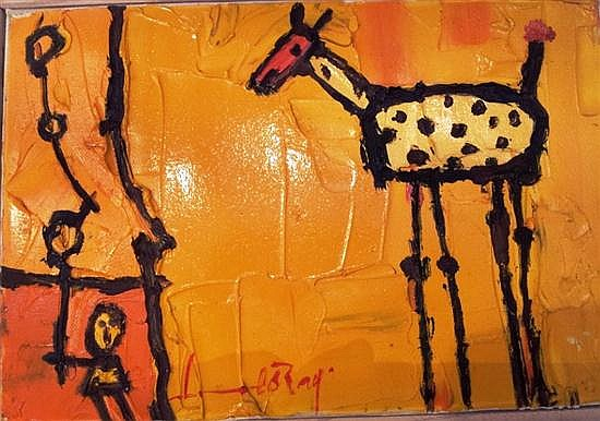 Leo Ray b.1950 (Israeli) Giraffe and child oil on canvas