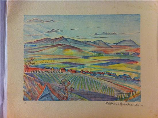 Greta Wolf Krakauer 1890-1970 (Austrian, Israeli) Portfolio with 5 old prints of Landscapes of Israel and 1 Kibbutz children class,...