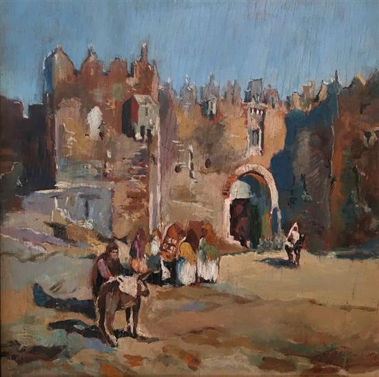 Unknown artist 20th century Nablus gate, Jerusalem oil on board