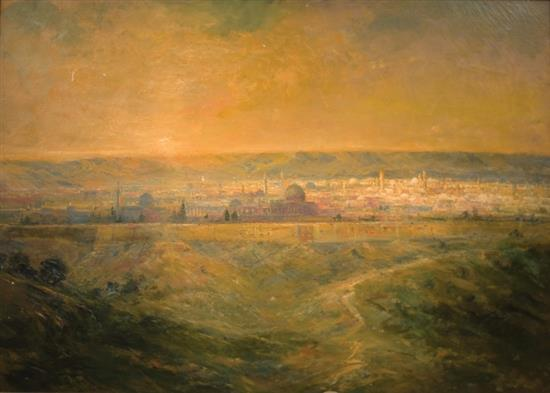 **Lucien Whiting Powell 1846-1930 (American) View of Jerusalem, 1911 oil on canvas