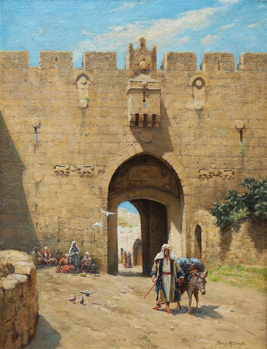 **Percy Robert Craft 1856-1934 (British) Nablus gate, Jerusalem oil on canvas