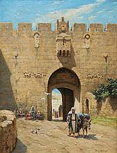 **Percy Robert Craft 1856-1934 (British) Nablus gate, Jerusalem oil on canvas