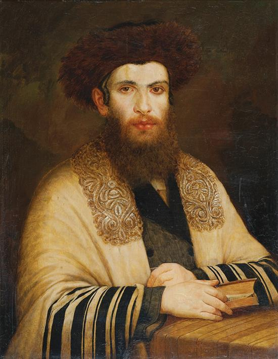 Follower of Isidor Kaufmann 1853-1921 (Austrian, Hungarian) Rabbi with streimel oil on panel