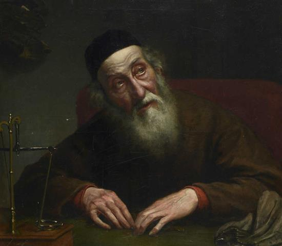 **John Roy Robertson act. 1857-1884 (American) Money changer oil on canvas