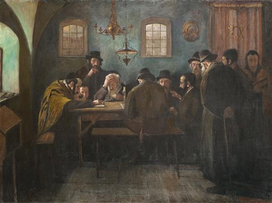 **Eastern-European School late 19th century Talmudic conversation oil on canvas