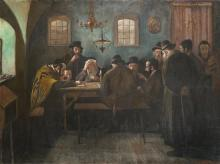 **Eastern-European School late 19th century Talmudic conversation oil on canvas