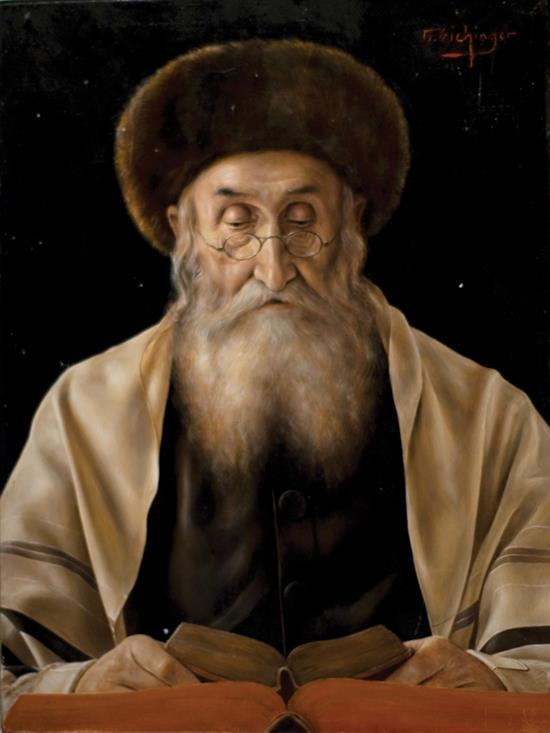 Otto Eichinger 1922-2004 (Austrian) A Hassidic rabbi oil on masonite