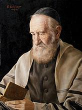 Otto Eichinger 1922-2004 (Austrian) Portrait of a rabbi oil on masonite