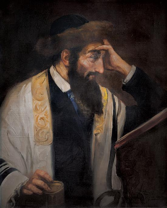Josef Suss 1892-1961 (Austrian) Rabbi reading oil on canvas
