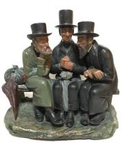 Unidentified Artist early 20th century Three rabbis sitting on the bench vintage painted plaster