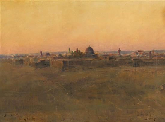 Bertram Priestman 1868-1951 (British) Jerusalem from the Mount of Olives, 1899 oil on canvas