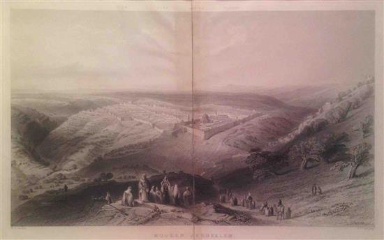 Wiliam Henry Bartlett 1809-1854 (British) Modern Jerusalem, Jerusalem from South East with pilgrims. Condition good, bleaching in li...