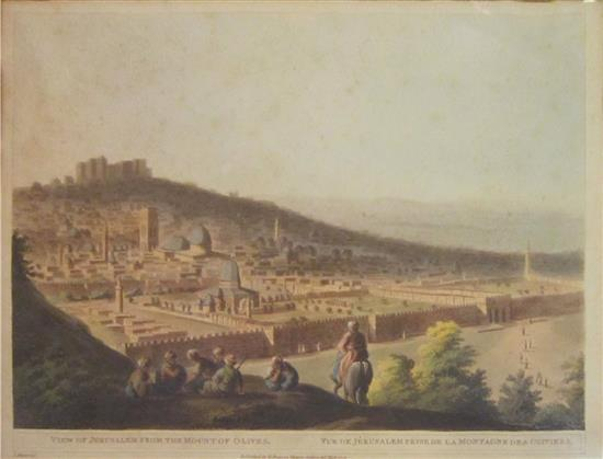 I. Mayerdel View of Jerusalem from the Mount of Olives print, published by R.Bowyer, Historic Gallery, Pall Mall, 1803