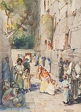 **Anna Rychter May 1865-1955 (German) Praying at the Wailing Wall watercolor on paper
