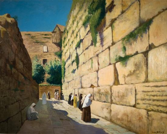 Victor Marie Louis Billiard 1864-1952 (French) The Wailing Wall oil on canvas