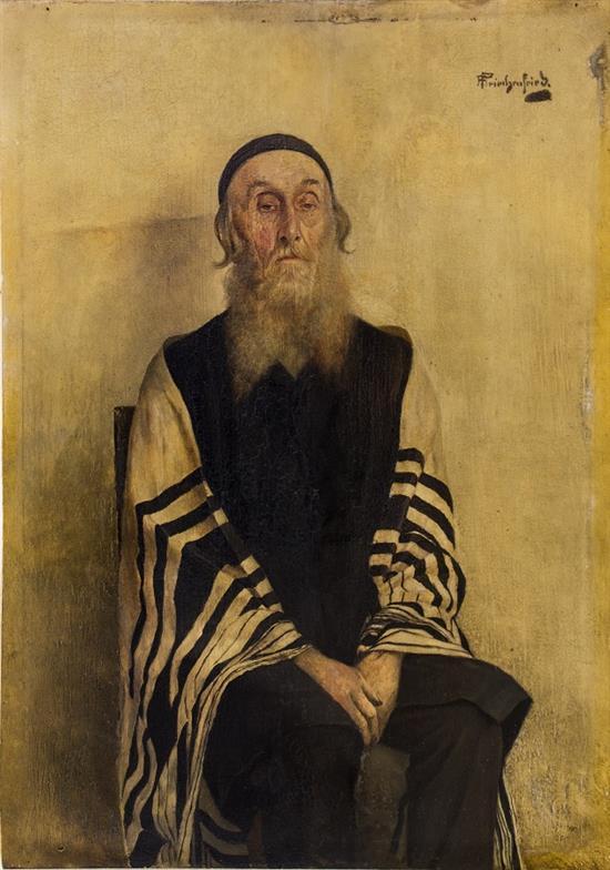 Alois Heinrich Priechenfried 1867-1953 (Austrian) Portrait of a Rabbi oil on panel