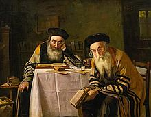 **Alois Heinrich Priechenfried 1867-1953 (Austrian) Rabbis at a table oil on panel