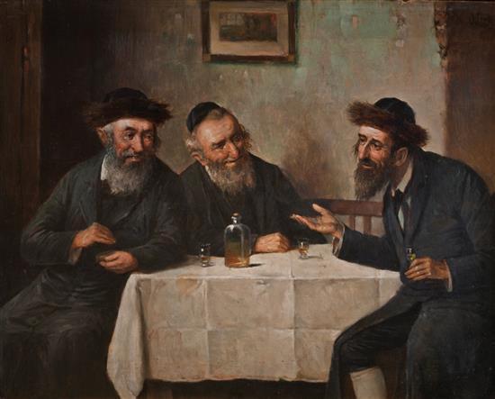 **Carl Ostersetzer 1865-1914 (Austrian) L'chayim oil on panel