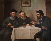 **Carl Ostersetzer 1865-1914 (Austrian) L'chayim oil on panel