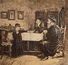 After Isidor Kaufmann 1854-1921 (Austrian) Two scholars with young student etching