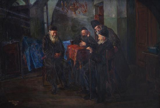 Arthur Markowicz 1872 - 1934 (Polish) Beit Din, 1914 oil on board