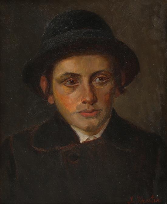 **Lazar Krestin 1868-1938 (Lithuanian, Austrian) Portrait of a young man oil on canvas
