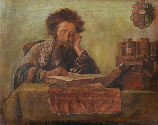 Eastern-European School early 20th century Rabbi reading oil on canvas