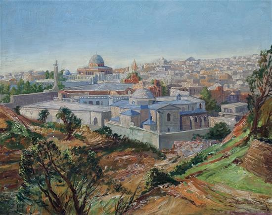 **Joseph Jiri Kamenicky 1910-1981 (Czech) Jerusalem, 1920-30's oil on board