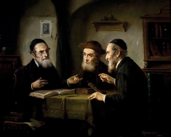 **Lajos Koloszvary 1871-1937 (Hungarian) Three scholars oil on canvas