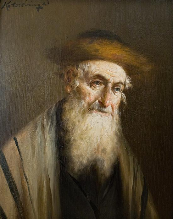 Lajos Koloszvary 1871-1937 (Hungarian) Rabbi oil on panel