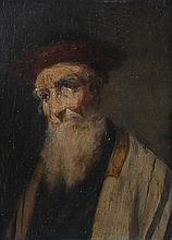 Lajos Koloszvary 1871-1937 (Hungarian, French) Portrait of a Rabbi oil on panel