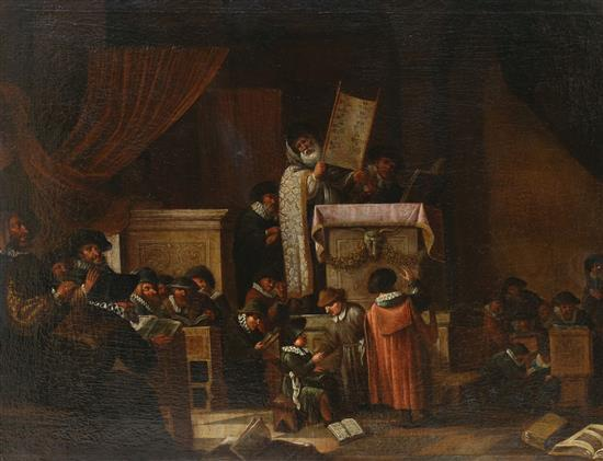 **Dutch School 17th century The Portuguese Synagogue, Amsterdam oil on canvas