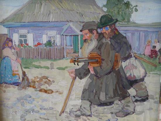 **Lיon Schulman Gaspard 1882-1964 (American, Russian) Wondering Kleizmers in shtetl gouache on canvas mounted on board