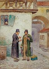 **Frans Wilhelm Odelmark 1849-1937 (Swedish) Discussion watercolor on paper