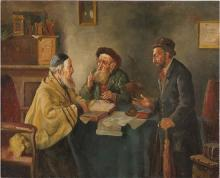 German School early 20th century Discussion with the Rabbi oil on panel