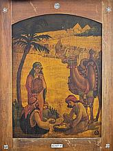 Zeev Raban 1890-1970 (Israeli) Halachma Anya (The bread of affliction) oil on Bezalel wooden panel and bone frame
