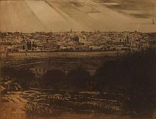 Ephraim Moshe Lilien 1874-1925 (Polish, Israeli) Old City of Jerusalem facsimile of original etching